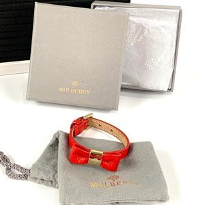 Mulberry Alexa Red leather bow bracelet.